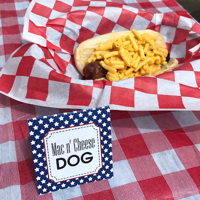 ideas for hot dog bar: mac n' cheese dog