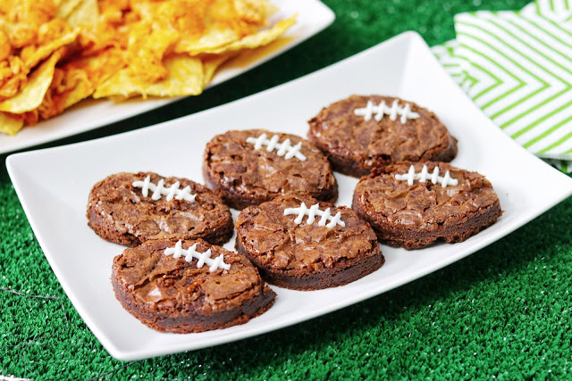 easy football party food ideas - football brownies