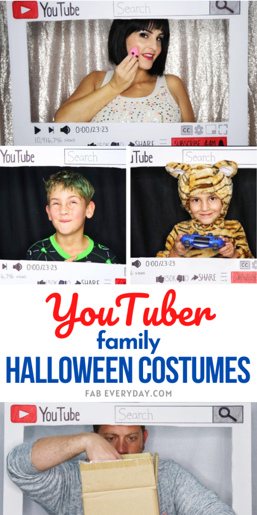 Great last minute family Halloween costume idea: four different YouTuber Halloween costumes. Easy DIY YouTuber Halloween costume ideas.