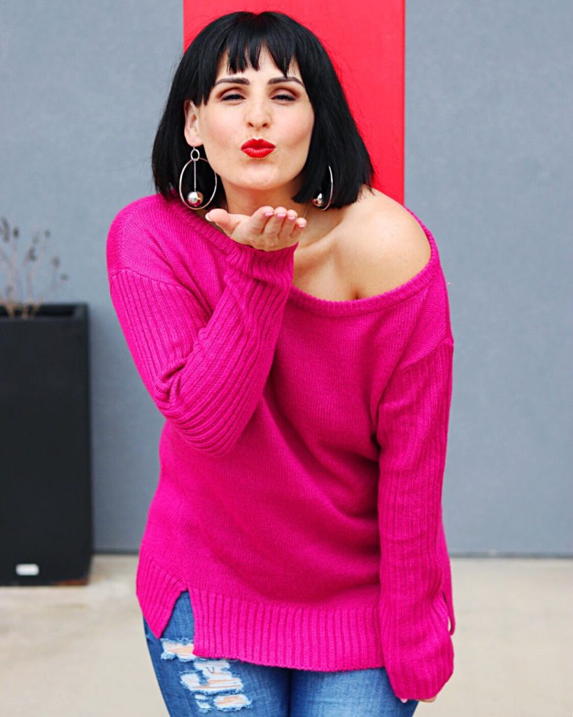Look 3  I am loving this fuchsia one-shoulder sweater I got in my most  recent JustFab sale haul! The color makes it a great transitional piece  from sweater ... 5469ea29c