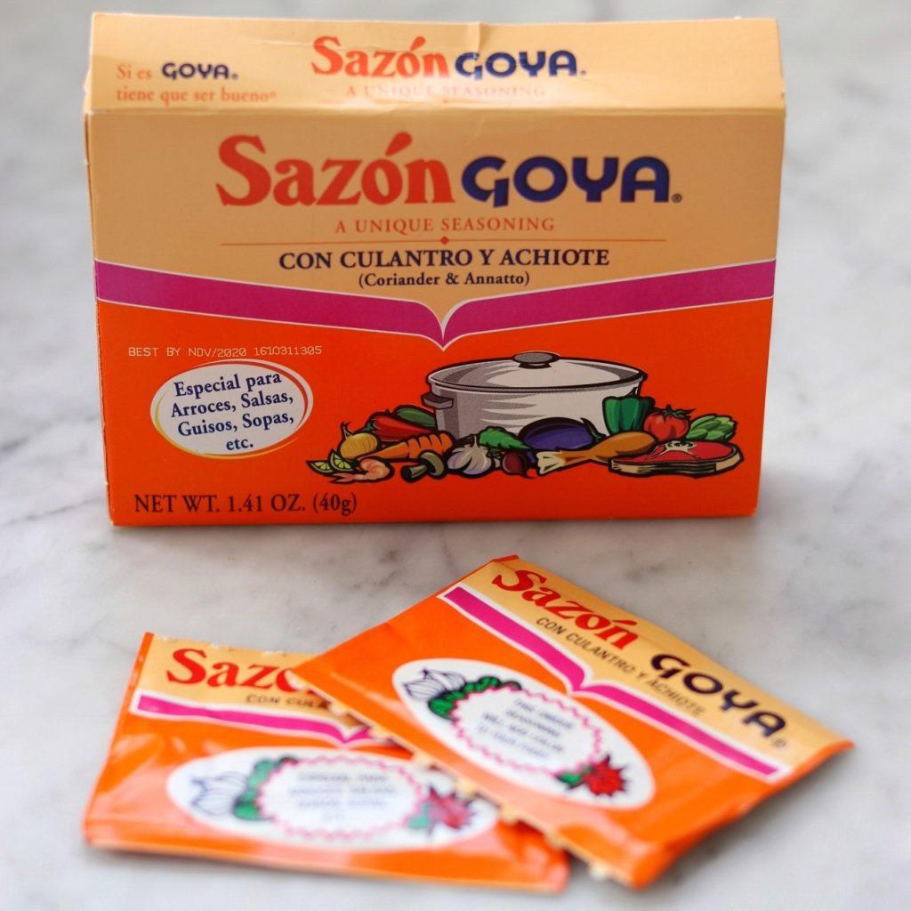 sazon con culantro y achiote ingredient for puerto rican habichuelas guisadas
