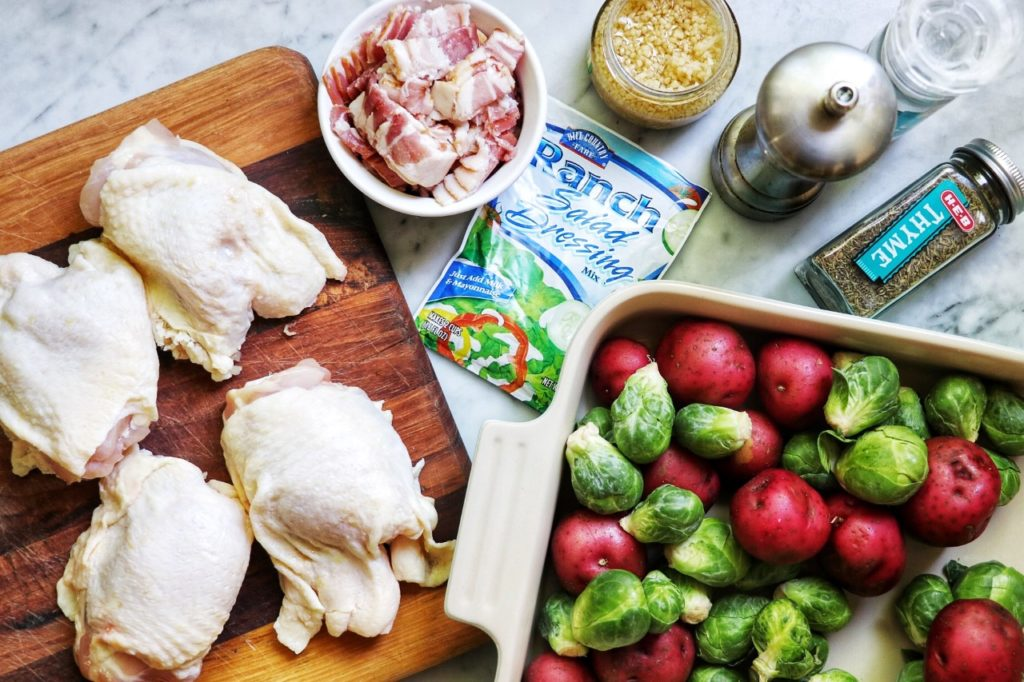 Ranch-Baked Chicken Thighs with Bacon, Brussels Sprouts, and Potatoes
