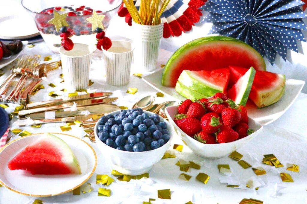Red and blue fresh fruit for a patriotic party food idea