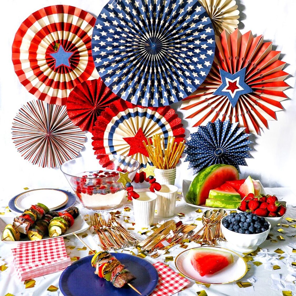 Red white and blue 4th of july party decorations