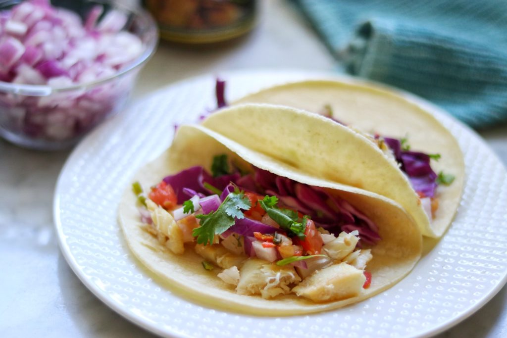 Fish tacos recipe with a garlic and lime marinade
