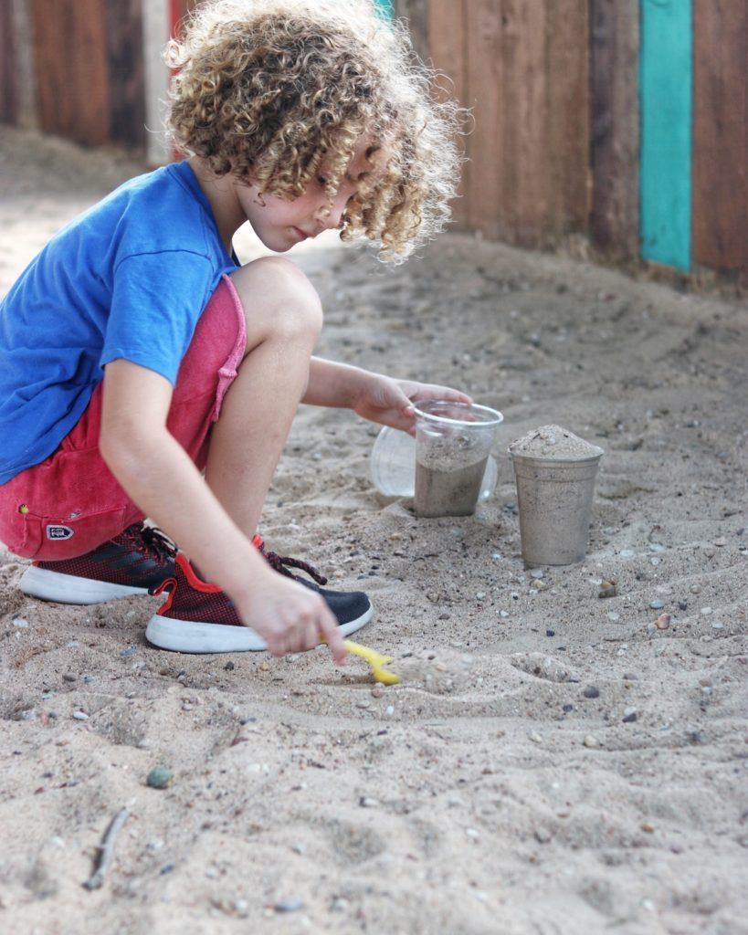 Sand pit for kids at Ski Shores Cafe in Austin