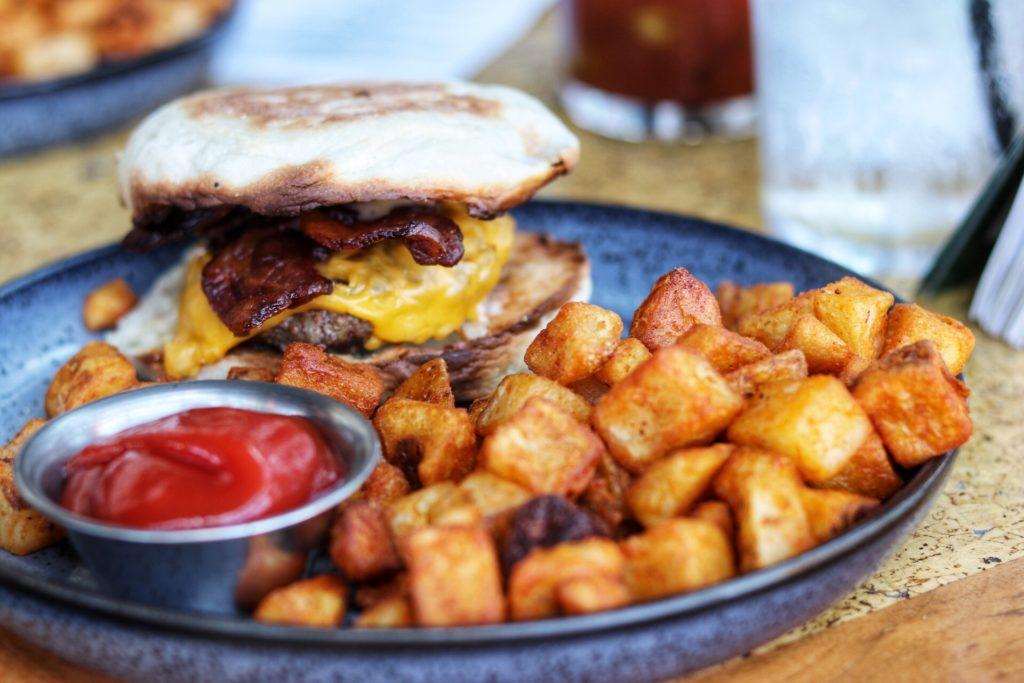 breakfast burger at 360 at Hilton St. Louis at the Ballpark