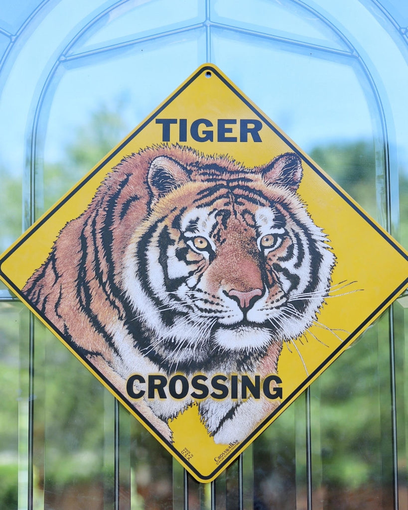 tiger crossing sign as decor for a tiger themed birthday party