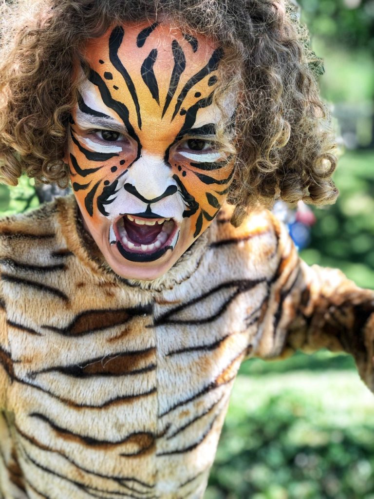 activity idea for a tiger themed birthday party: tiger face painting