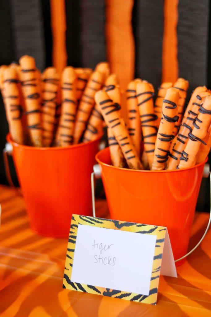 tiger striped pretzel sticks for a tiger themed party snack idea