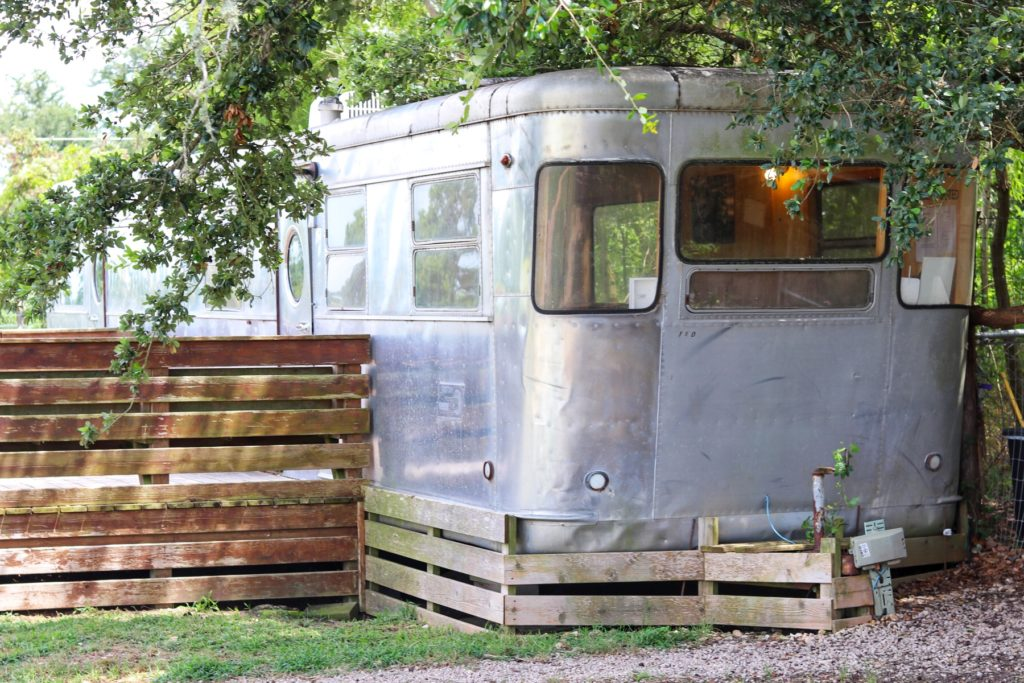 the airstream trailer office at barking springs dog daycare and boarding ranch in austin