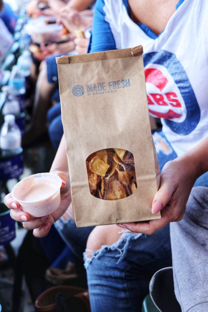 concessions at wrigley field: house made potato chips with buffalo ranch dipping sauce