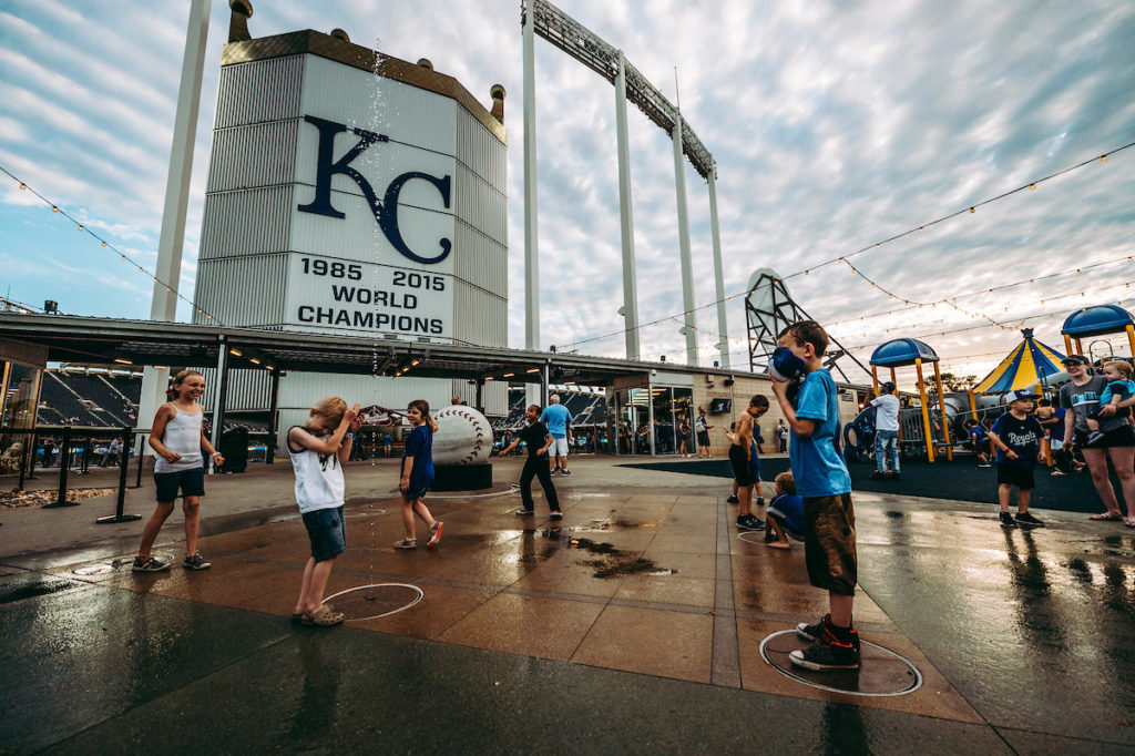 Splash Pad at Kauffman Stadium's Outfield Experience kid's area