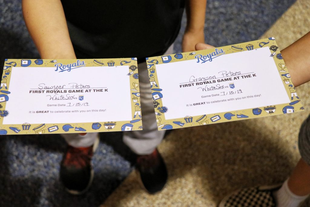 """Free """"First Game Certificate"""" at Kauffman's Stadium Guest Services behind home plate"""