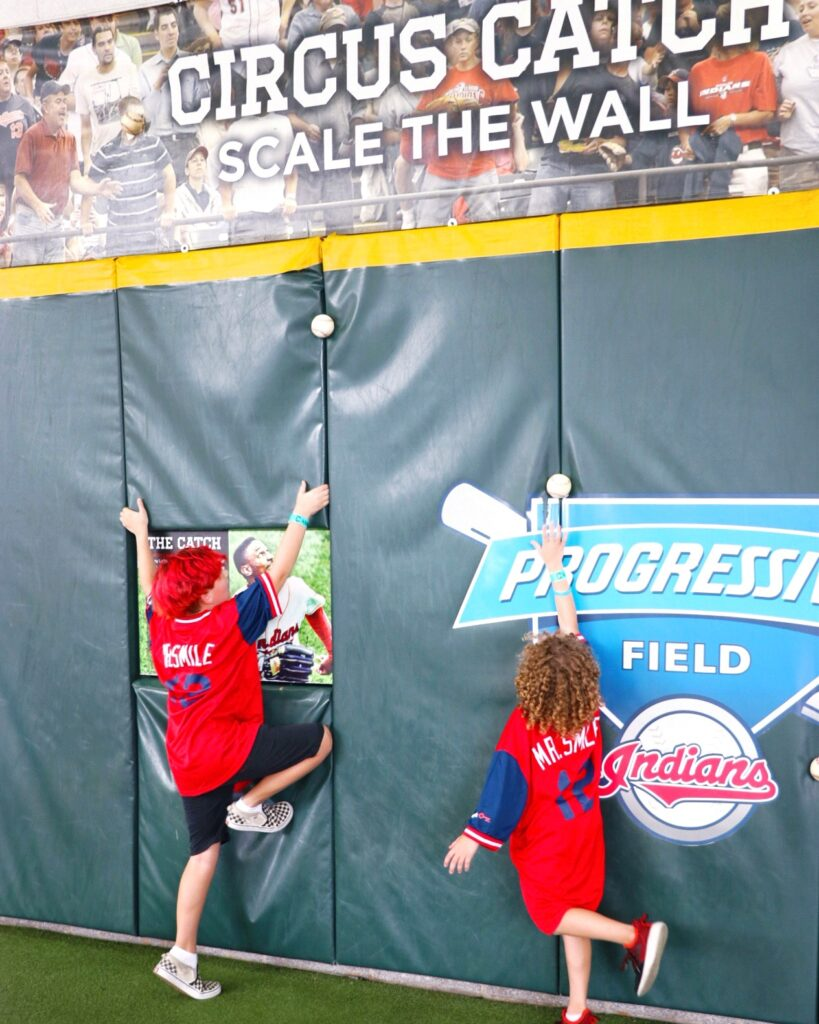 visiting cleveland with kids for an indians game - circus catch wall at progressive field