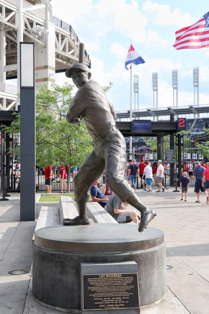 lou boudrea statue at progressive field