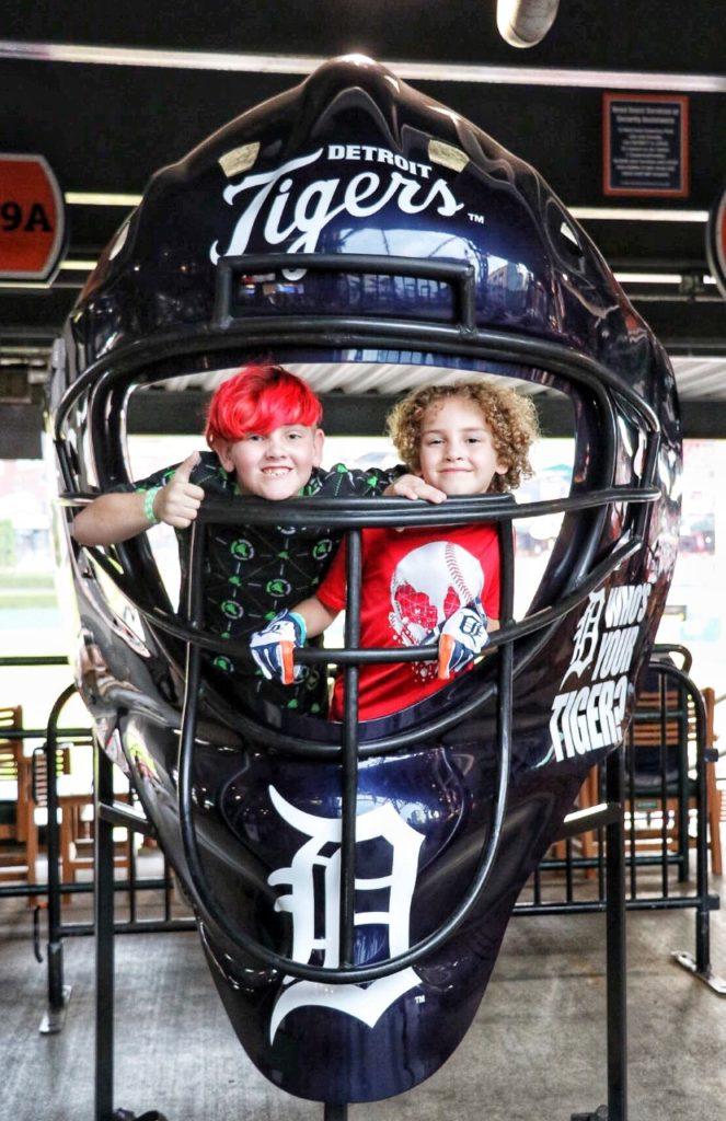 detroit tigers catcher's helmet photo opp in comerica park