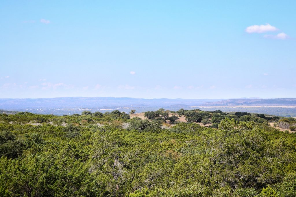 The view from the Civilian Conservation Corps Observation Tower at Longhorn Cavern State Park in Marble Falls, Texas