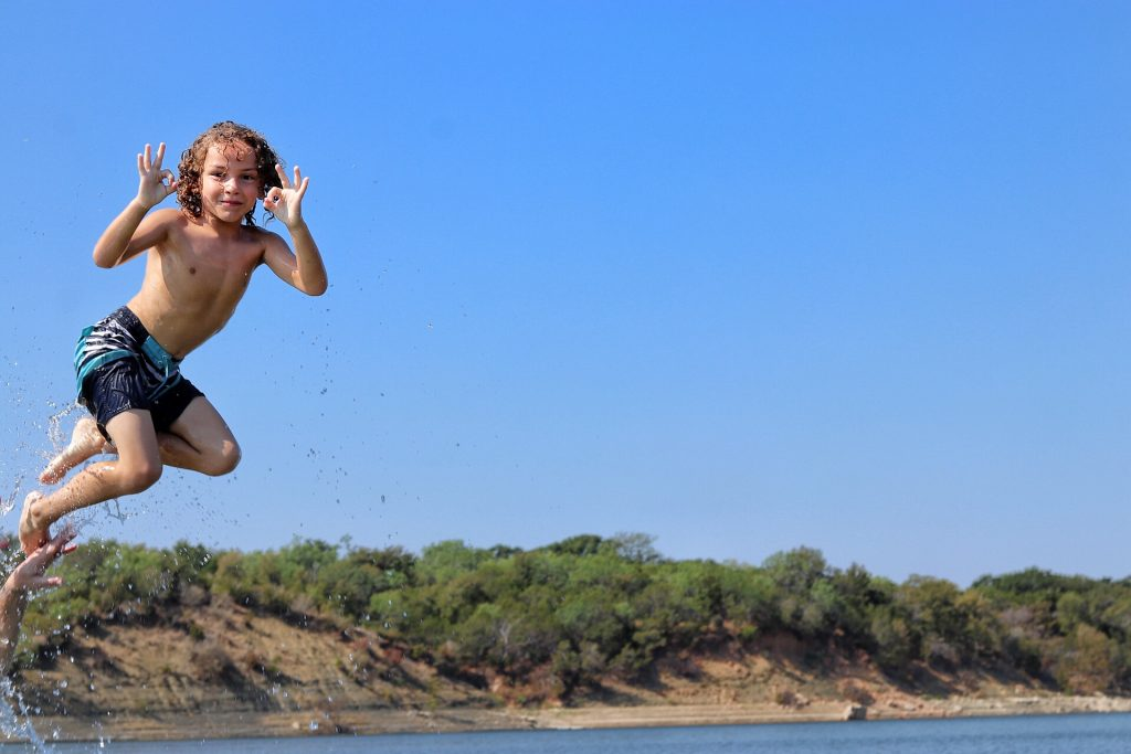 swimming at Shaffer Bend Recreation Area in Marble Falls, Texas