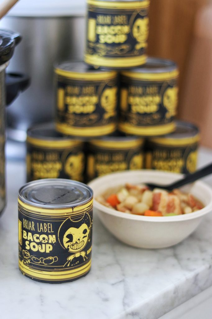 Bendy and the Ink Machine Briar Label Bacon Soup printable can labels for a BATIM party