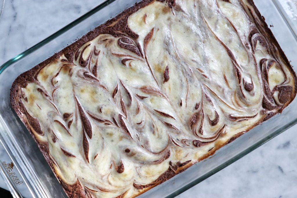 Chocolate cream cheese swirl brownies for a Bendy and the Ink Machine party