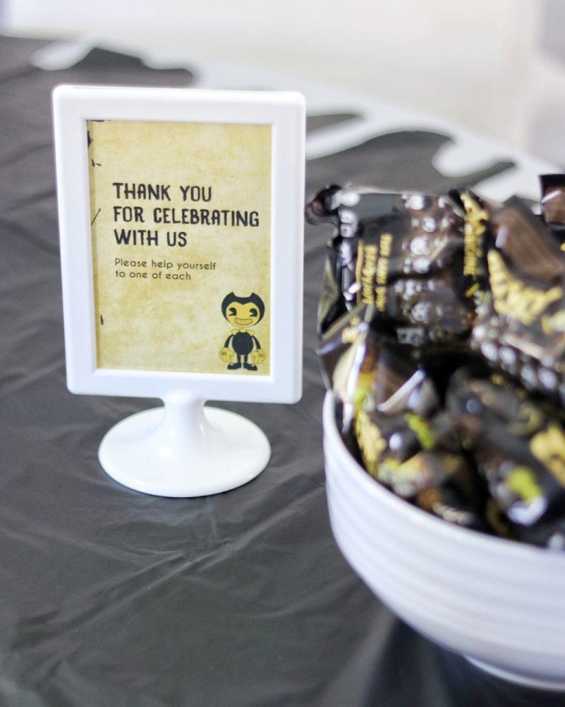 bendy and the ink machine themed birthday party favors