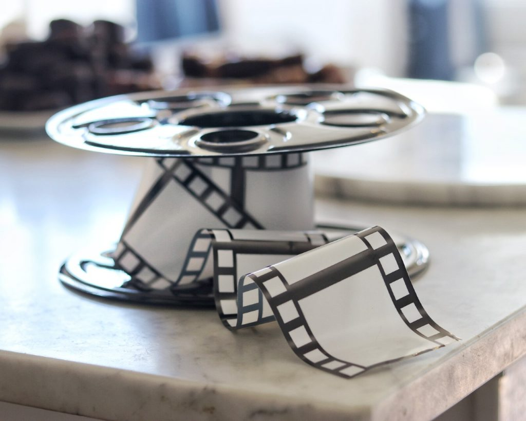 film reel centerpieces for bendy and the ink machine themed birthday party decor