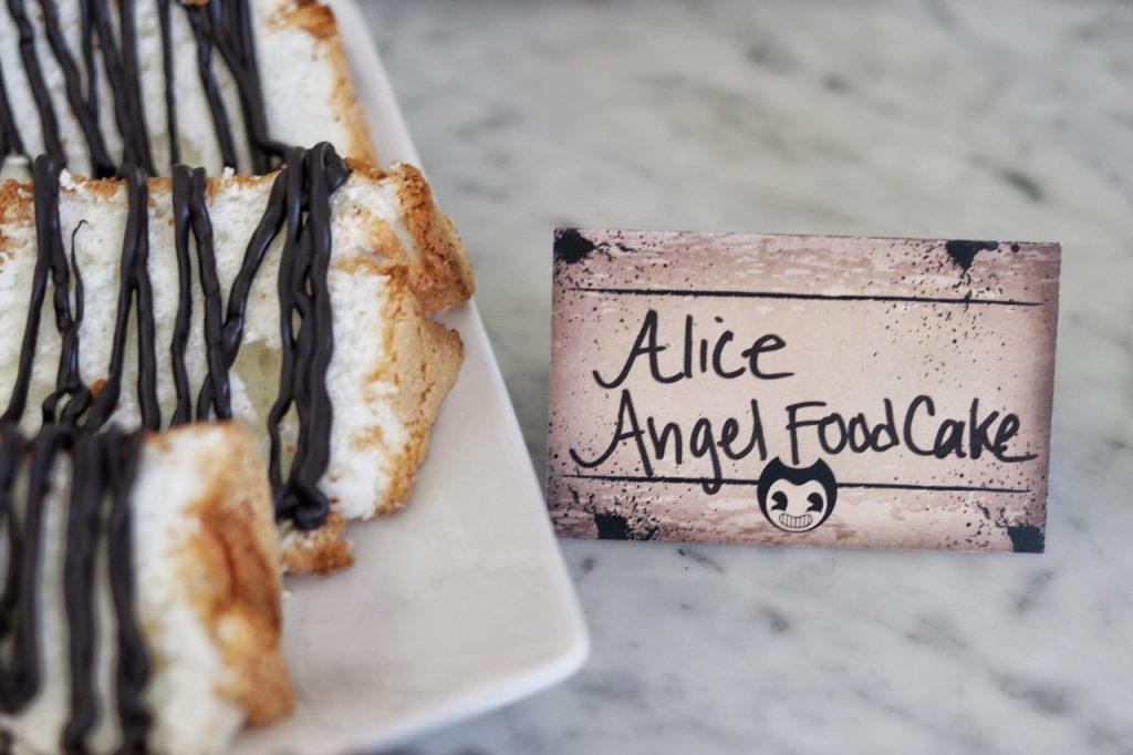 Food ideas for a Bendy and the Ink Machine themed birthday party: Alice Angel food cake