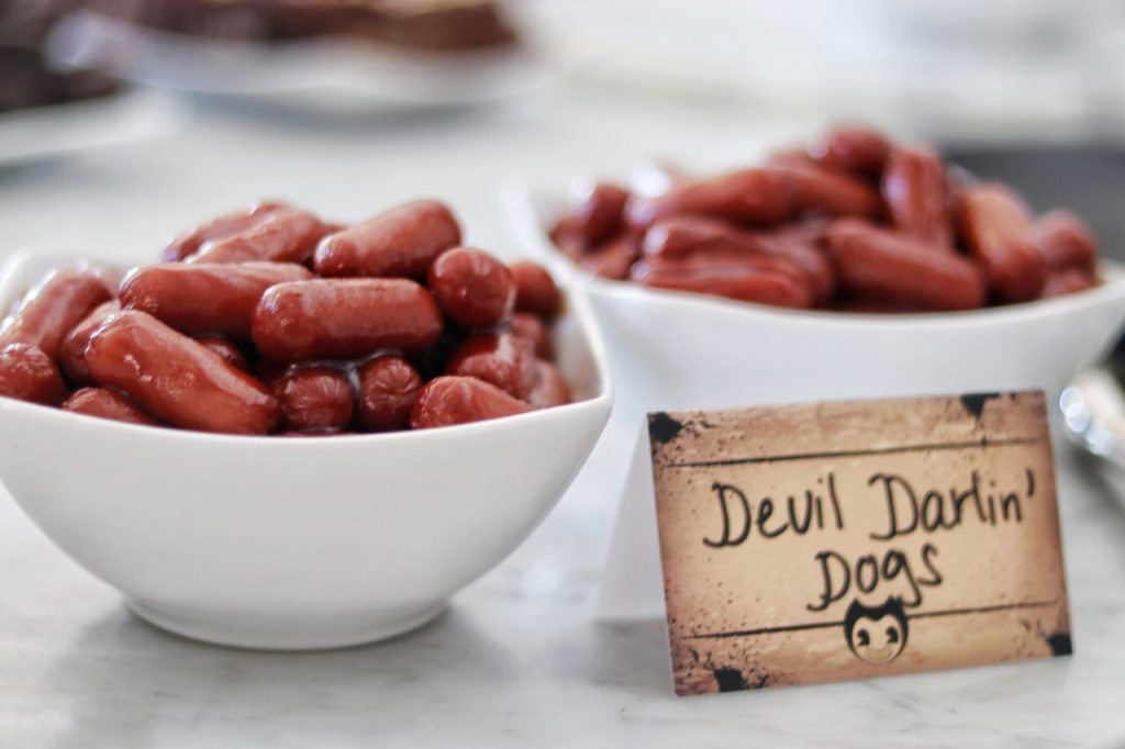 "Bendy and the Ink Machine themed birthday party food: lil smokies with bbq sauce, or ""Devil Darlin' Dogs"""