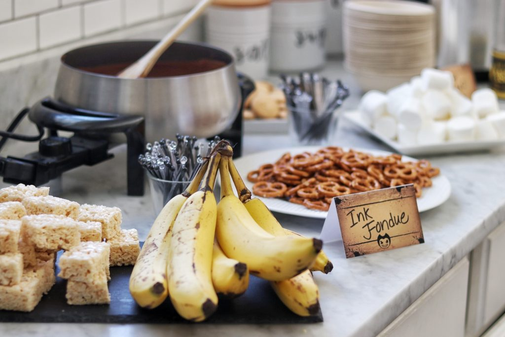 Ink Fondue bar - fun food idea for a Bendy and the Ink Machine themed birthday party