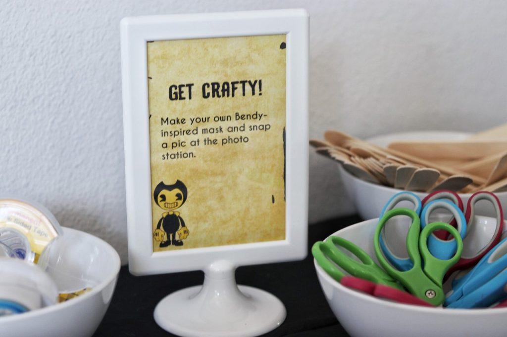Bendy birthday party activity: craft station