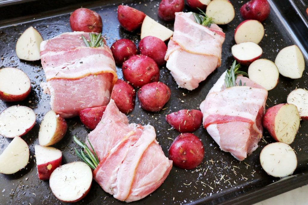 easy family-friendly One-Pan Bacon-Wrapped Pork Chops Dinner