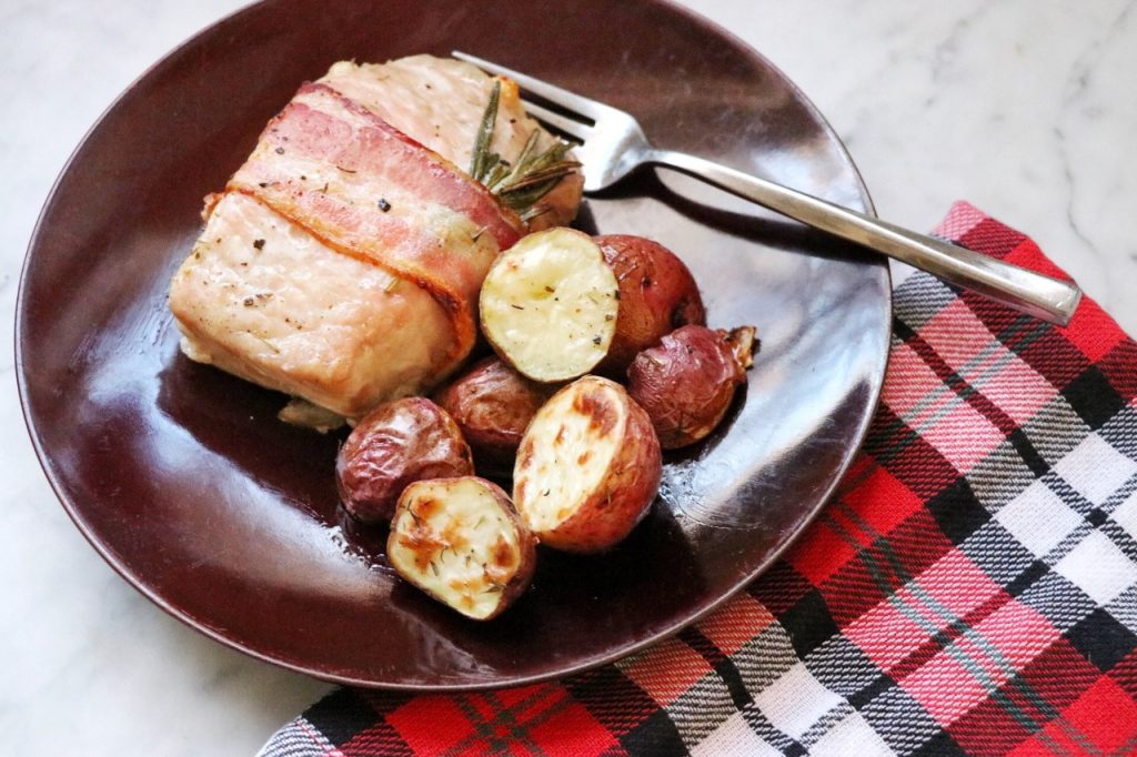 easy One-Pan Bacon-Wrapped Pork Chops Dinner recipe