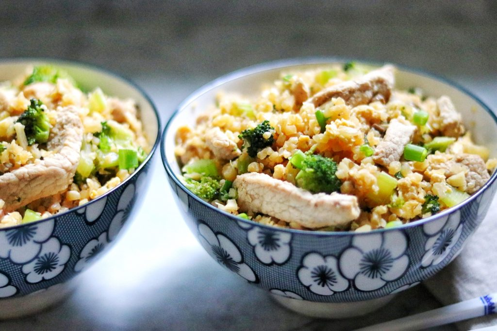 Keto Cauliflower Fried Rice with pork and veggies recipe