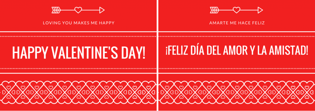 Free printable bilingual Valentine's cards