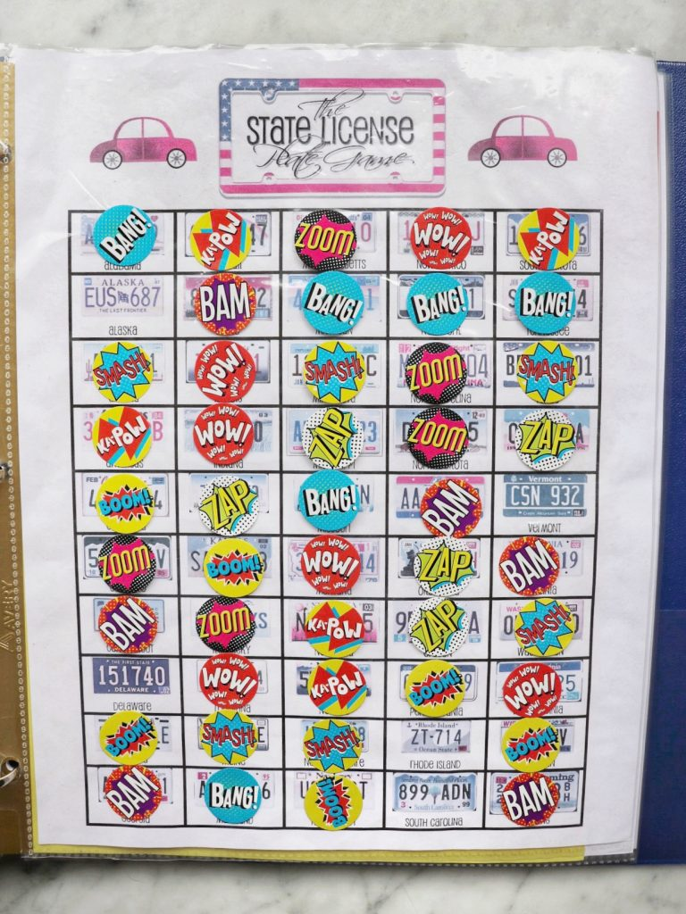 free road trip printable games for kids: state license plate game