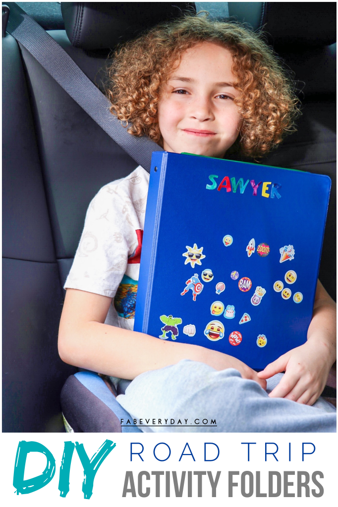 DIY road trip activities folder for toddlers and young kids