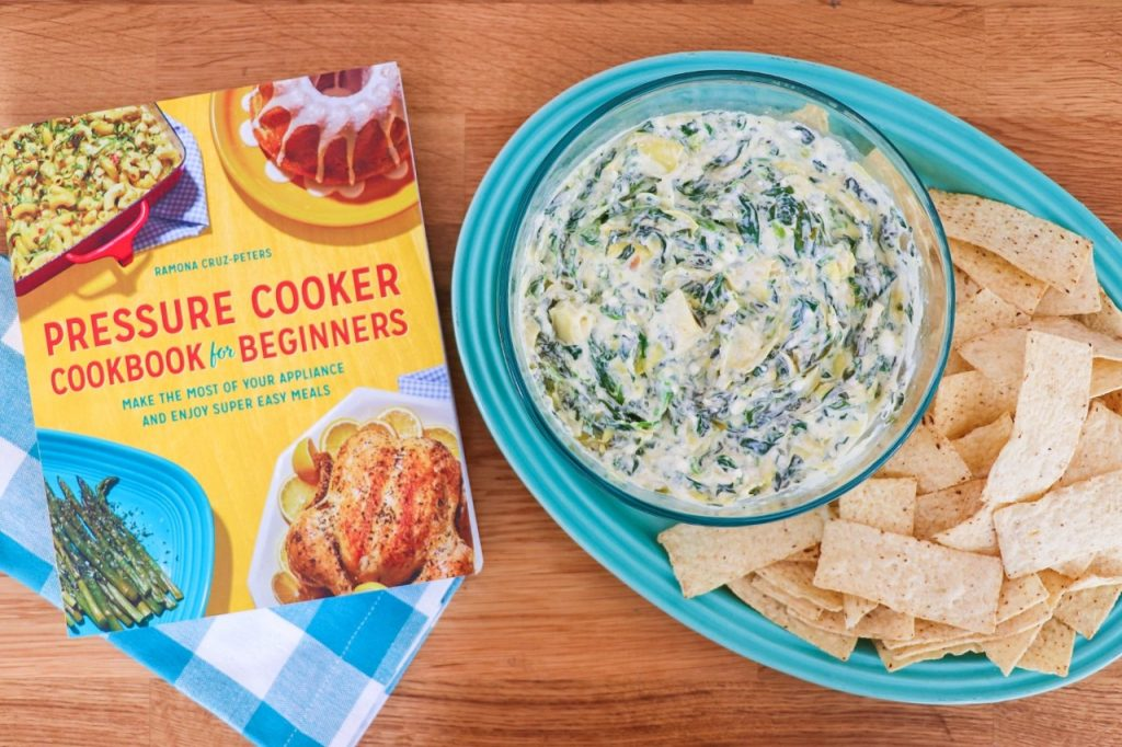 Feta, Spinach, and Artichoke Dip recipe from my new cookbook, Pressure Cooker Cookbook for Beginners.