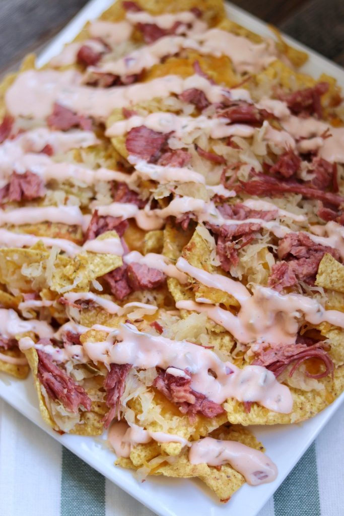 Reuben Nachos recipe with homemade Thousand Island dressing sauce