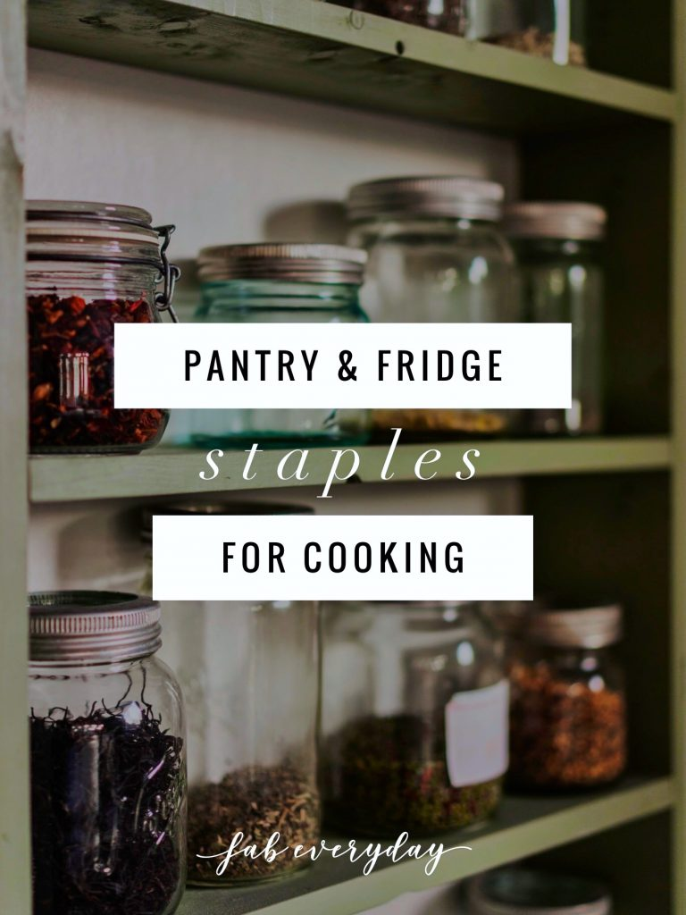 Lists of pantry and fridge simple staples, essential herbs and spices for cooking