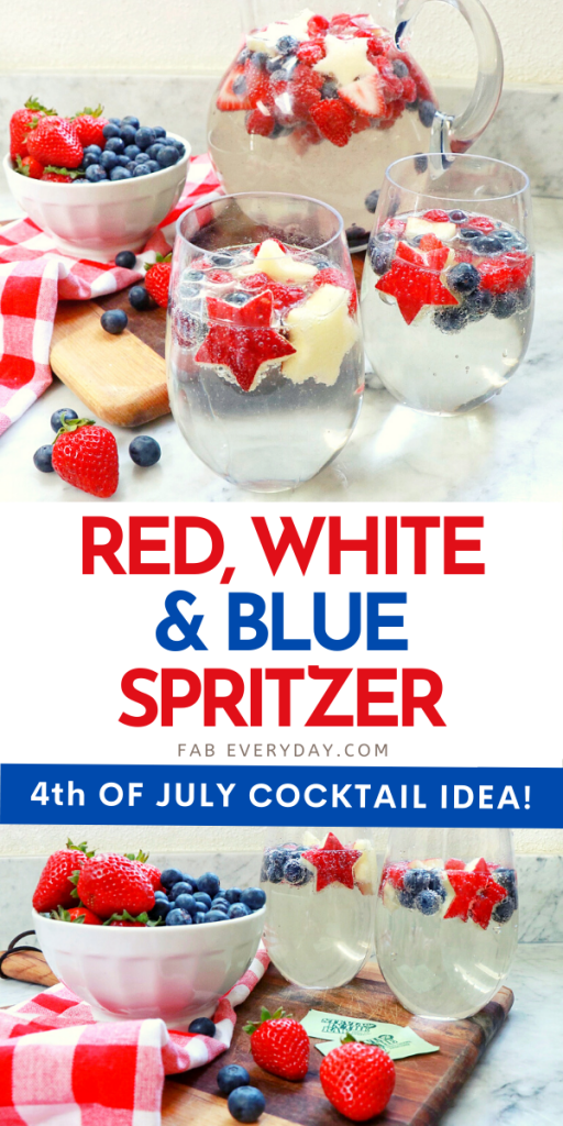 Patriotic cocktail recipe: Red, White, and Blue Wine Spritzer