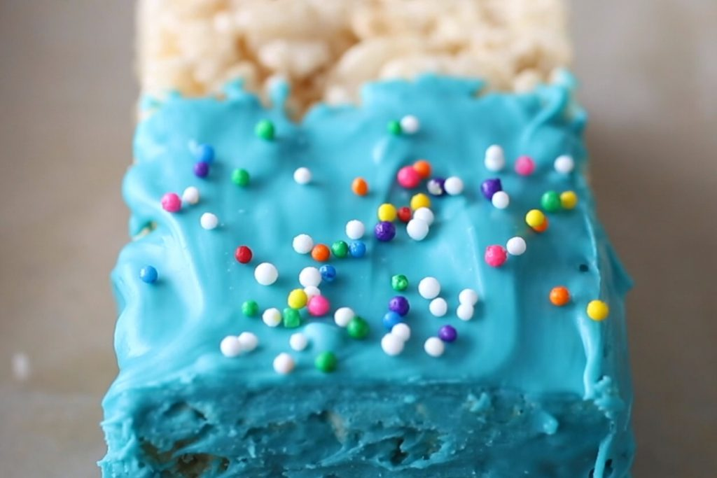 candy melt ideas: decorated rice krispie treats