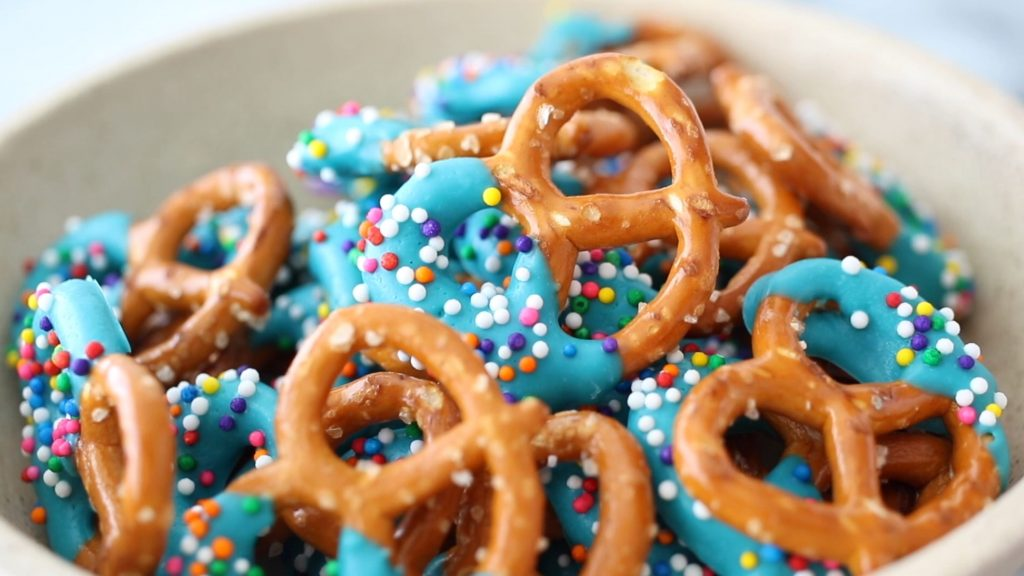 ideas for candy melts: pretzels dipped in candy melts