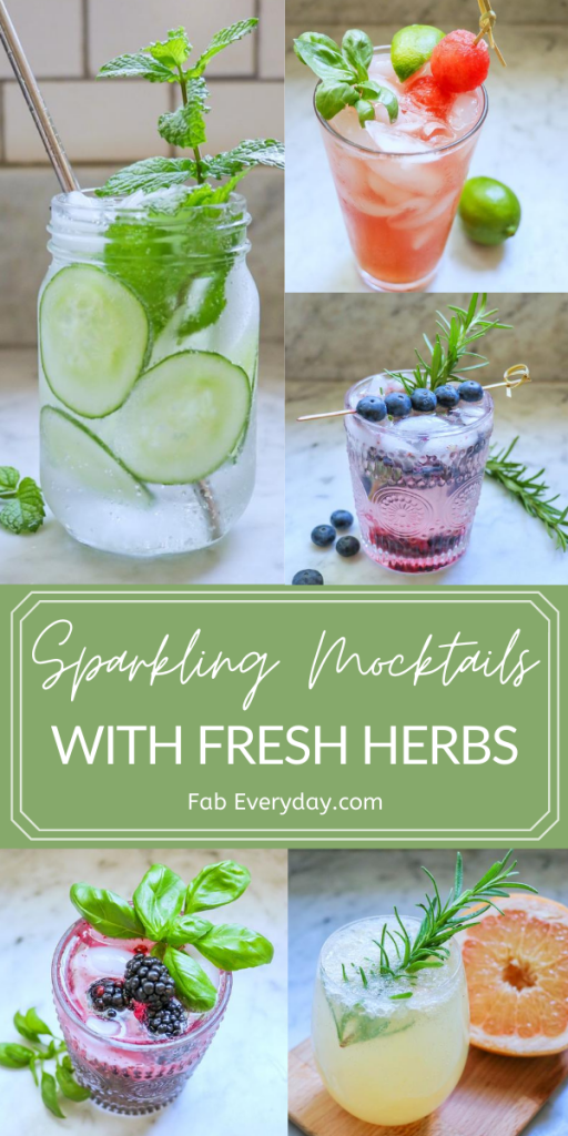 Refreshing sparkling mocktails with mint, basil, and rosemary