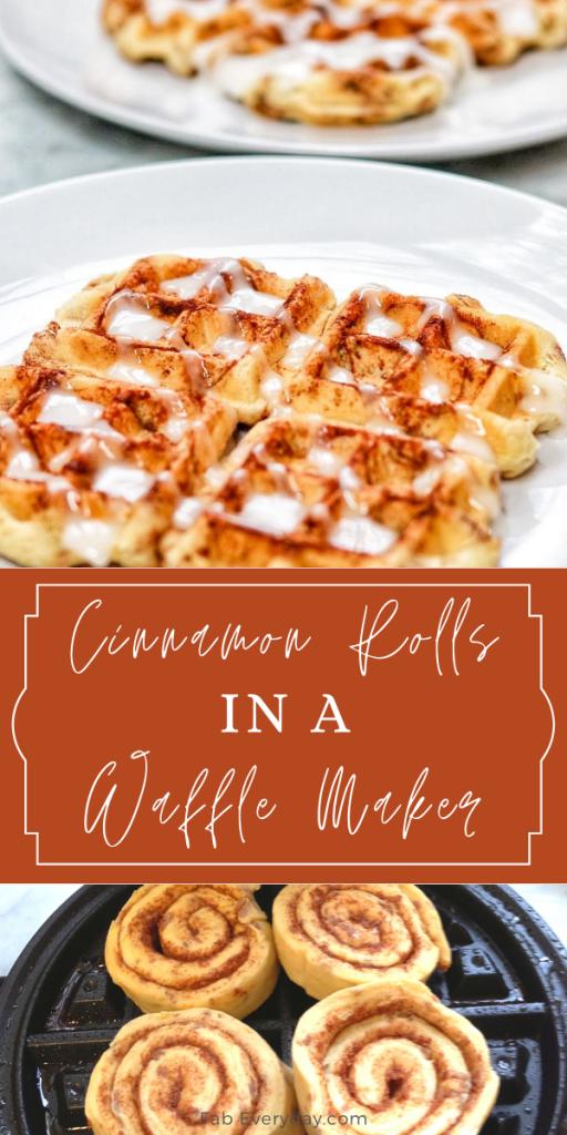 Cinnamon Roll Waffles: cinnamon rolls made in a waffle maker