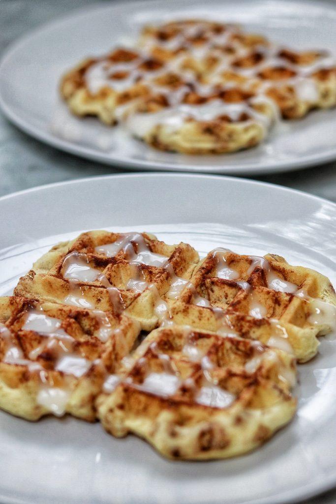 cinnamon roll waffles - cinnamon rolls in waffle maker
