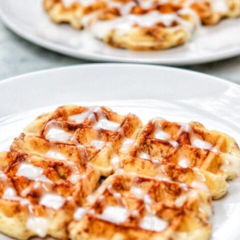 cinnamon rolls in waffle maker