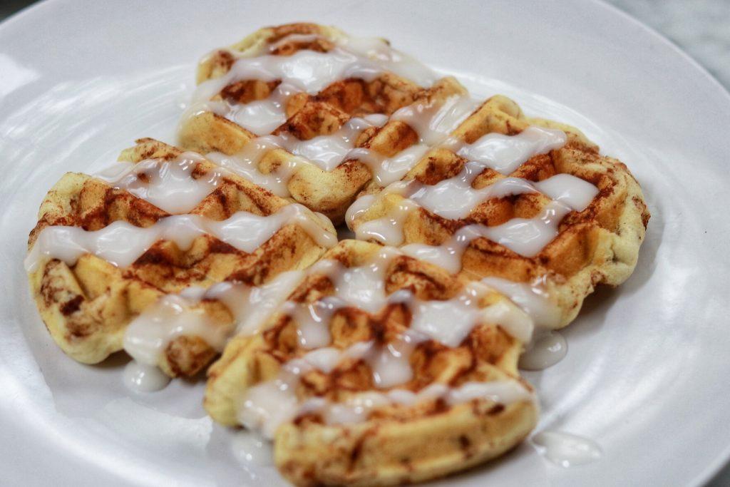 cinnamon roll waffles - national waffle day recipe idea