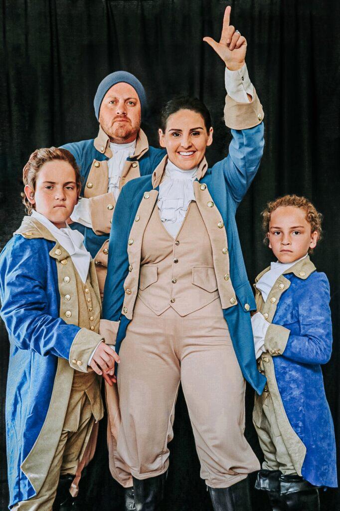 Hamilton costume ideas for the whole family: Alexander Hamilton costume, John Laurens costume, DIY Hamilton Lafayette costume, and Hercules Mulligan costume.