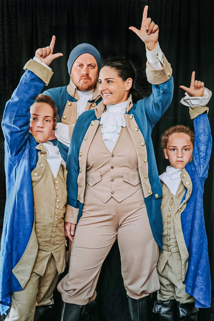 Alexander Hamilton costume with John Laurens, Hercules Mulligan, and Marquis de Lafayette costumes from the musical Hamilton